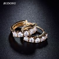 Wholesale BUDONG Fashion Brand Circle Earing for Women Gold Plated Hie Hoop Earrings Shining White Zircon Statement Jewelry E130
