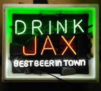 best in town - 17 quot x14 quot DRINK JAX BEST BEER IN TOWN REAL GLASS TUBE NEON LIGHT BEER BAR PUB CLUB DISPLAY SIGN