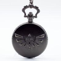 Wholesale Black The Legend of Zelda Skyward Sword Game Quartz Pocket Watch Analog Pendant Necklace Men Womens Watches Chain Gift