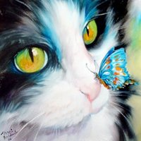 antique framed butterflies - DIY Diamond Picture Without Frame Cat With Butterfly Cross Stitch Set Diamond Mosaic Knitting Needles Diamond Painting Home Decoration A3393
