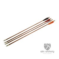 Wholesale handmade archery bamboo arrows with turkey feather fletchings and silver bullet field points pseudosasa japonica