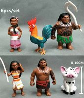 Wholesale Cartoon Set Moana Figure Toy cm Anime Maui Hei Hei Sina Chief Tui Action Figure Toy Doll For Children Xmas Birthday Gift