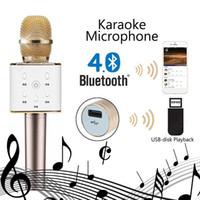 Wholesale High Quality KTV Q7 Wireless Speaker Karaoke Handheld Microphone USB KTV Player Bluetooth English Version Speaker With USB Disk Playback