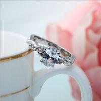 Wholesale Hot Fashion Ladies Platinum Rhinestone Ring High quality Platinum Plating Good choise for wedding or present