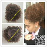 Brown Afro Kinky Curly Weave Ponytail Coiffures Clip ins Ponytails naturels Extensions cordon queue de cheval courts cheveux haut de poney