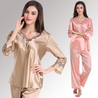 Wholesale For faux silk plus size sleepwear red sexy women s married long sleeve casual lounge set