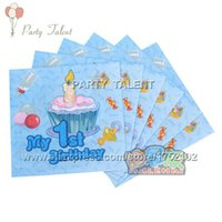 Wholesale Party supplies baby boy st birthday blue theme party decoration disposable tableware napkin pink cartoon pattern