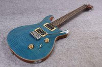 Wholesale BLUE ROYAL Electric guitar with Flamed Maple Top frets Gold hardware OEM Guitar