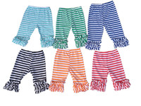Wholesale baby girls high quality icing ruffle stripe cotton capris pants kids shorts children chic leggings