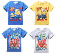 Wholesale Kids Clothes Avengers Cartoon Summer Short Sleeve Cotton Tshirt Kids Avengers Top Tees Colors Blue Yellow