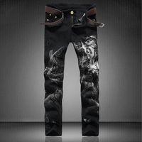 beauty personality - Men s fashion personality beauty girl print jeans Slim black denim pants Long pencil trousers Male casual slim fit straight denim pants