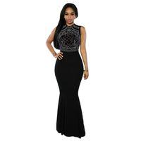 ankle length robe - Sexy Club Dress Women Summer Sleeveless Maxi Dress Geometric Rhinestone Evening Party Black Long Dress Robe Longue Femme