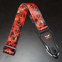 Correa de cinturón de guitarra eléctrica baja acústica Correa de reloj de cadena de fuego viva ardiente Material de nylon suave duradero