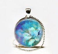 Pendant Necklaces South American Unisex Wholesale Blue Dream Flower pendant Necklace, flower necklace,flower jewelry,gardener's gift, gardening gift,flower art pendant Glass caboch