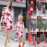 Wholesale Christmas dress Mother and daughter dress Family matching clothes for Chrismas High quality Mom Kids Baby Girl Family look Print Dresses