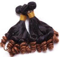 Funmi cheveux bouclés 12-24 pouces deux tons Ombre cheveux humains tissage paquets Bouncy Curl 1b 27 30 99j Brésilien péruvien indien cheveux malaisiens