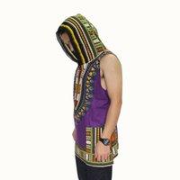 african animal fabric - New Fashion Dashiki Hoodies Loose Sleeveless African Print Dashiki Fabric Hood Cotton Fashion Robe Clothing Unisex Kimono