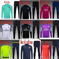 Wholesale 20152016 real madrid Tracksuits top quality Training suit BENZEMA JAMES BALE kids PSG juve Atletico Madrid Chelsea football Tracksuits