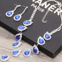 Stainless Steel amazing pearls - In Stock Royal Blue Rhinestone Crystal Wedding Bridal Jewelry Earrings Amazing Bridal Jewelry Sets For Prom Party Jewelry