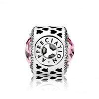 appreciation letter - APPRECIATION Pink Clear CZ Silver Essence Charm Fit Pan Bracelet PCZ