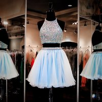 Cheap Buy Latest 2017 Sexy Aqua Blue Two Piece Halter Backless Beaded Crystal Bodice Mini Short Chiffon Homecoming Dresses 8th grade prom dresses