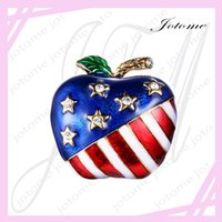 apple brooch pin - 100PCS China Direct Factort Sale Gold Tone Austrian Crystal Enamel American Flag Patriotic Stars Apple Brooch Pin Clear