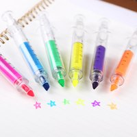Wholesale pieces Candy Color Syringe Highlighter Fluorescent Pen Highlighter Makers Promotional Stationery Glitter Gift
