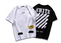achat en gros de imprimé floral t-shirts femmes-Hip hop sur blanc t-shirt marque MIRROR Skateboard t shirt hommes de coton Virgil Abloh T-shirt imprimé Spray T-shirt de femmes Kanye