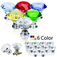 Wholesale 1 jx Transparent mm Kitchen Door Handle Shiny Polished Chrome Pull Handles Glass Cabinet Wardrobe Doorknob Crystal For Dresser