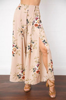 Wholesale 2017021214 Sexy side split wide leg pants women Boho summer beach long pants Elastic high waist causual pants