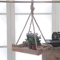 balcony hanging baskets - 1 PC New Arrival A Single Layer Wood Hanging Garden Pots Shelf Living Room Balcony Decorations SX36