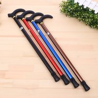 bamboo poles sale - aluminum alloy two files telescopic cane crutches hiking stick old man length adjustable factory direct sales