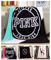 Wholesale 130 cm VS Pink Blankets Design Coral Fleece Blanket Living Room Bed Throw Blanket Christmas Gifts