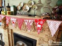 Vente en gros-Livraison gratuite guirlande de Noël 2.3meter / pcs 10flags Handmade drapeaux de tissu de côté double Bunting Banner Garland x-mas Party Decor