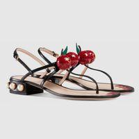 Wholesale new cherry women s genuine leather t tied sandals pearl deco heel