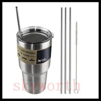 Wholesale 4 Set Stainless Steel Straws and Cleaning Brushes for Yeti Rambler RTIC Drinks Tumbler Cup Brush OZ OZ Avaiable Drinking Straw