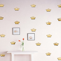 Wholesale 3D Acrylic Mirror Wall Stickers Kids Room Decoration Princess Crown Shape Sticker Wall Art Decals Home Decor