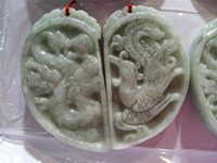 ancient china dragon - Certified Green Natural Grade A HETIAN JADE Jadeite A pair of lover s ancient Chinese jade pure hand carved dragon and phoenix pendant