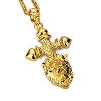 Trendy animal crossing rock - Fashion Mens Cross Lion Head Necklace Pendant k Gold Plated Men Hip Hop Jewelry Punk Rock Rap Charms Long cm