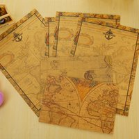 Wholesale-2 envuelve + 4 el papel de escritura / el mapa de la vendimia de la porción sobres el papel de carta de los sobres papel fijó el regalo de los efectos de escritorio