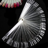 Wholesale PC False Display Nail Art Clear Fan Wheel Polish Practice Tip Sticks Nail Gel Color Show
