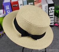 Cheap Hot Children sunhats Summer New Fashion Girls Princess Hats Children's Beach Hats Kids Hollowed-out Sunhats Straw Hat with Bows T005