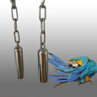 Wholesale New Design Bird Toys Parrot Hamster Chew Stainless Steel Bell Scratcher Budgie Parakeet Cage Hanging Toys JJ0207