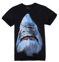 Wholesale womens and mens boys shark Tee T shirt cool party western verison short sleeve shirts black tank tops