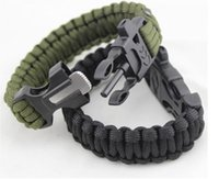 Wholesale 2017 hotsale LB paracord survival bracelet buckle with flint whistle and cutter high quality outdoor camping bracelet survival equipment