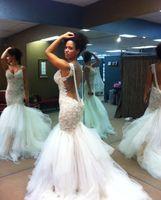 Wholesale Wedding Gown Vestido De Noiva Sereia Sexy Backless Mermaid Wedding Dresses with Beadings New Designers
