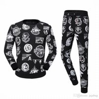 Wholesale PP ARRIVE Tide Brand Fit Slim Casual Sport MENS Sport Tracksuit top quality cotton D Printing Skulls P6211 Men TrackSuits