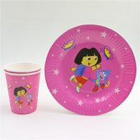 Wholesale dora exploration disposable kids girls birthday party set decorations paper plates paper cups glass party supplies
