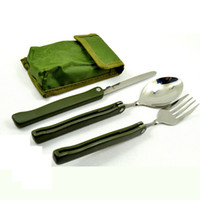 Wholesale 3 in Multifunction Outdoor Portable Stainless Steel Toos Folding Tableware Folding Spoon Fork Knife Portable Picnic Dinnerware with Pounch