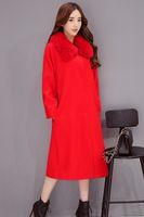 acrylic coated cotton fabric - 2016 new winter fashion temperament all match Korean color simple high grade fabrics loose wool coat jacket dress